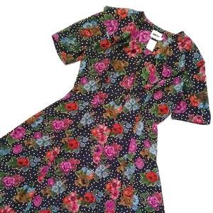 VTG Navy Polka Dot Floral Button Down Maxi Dress
